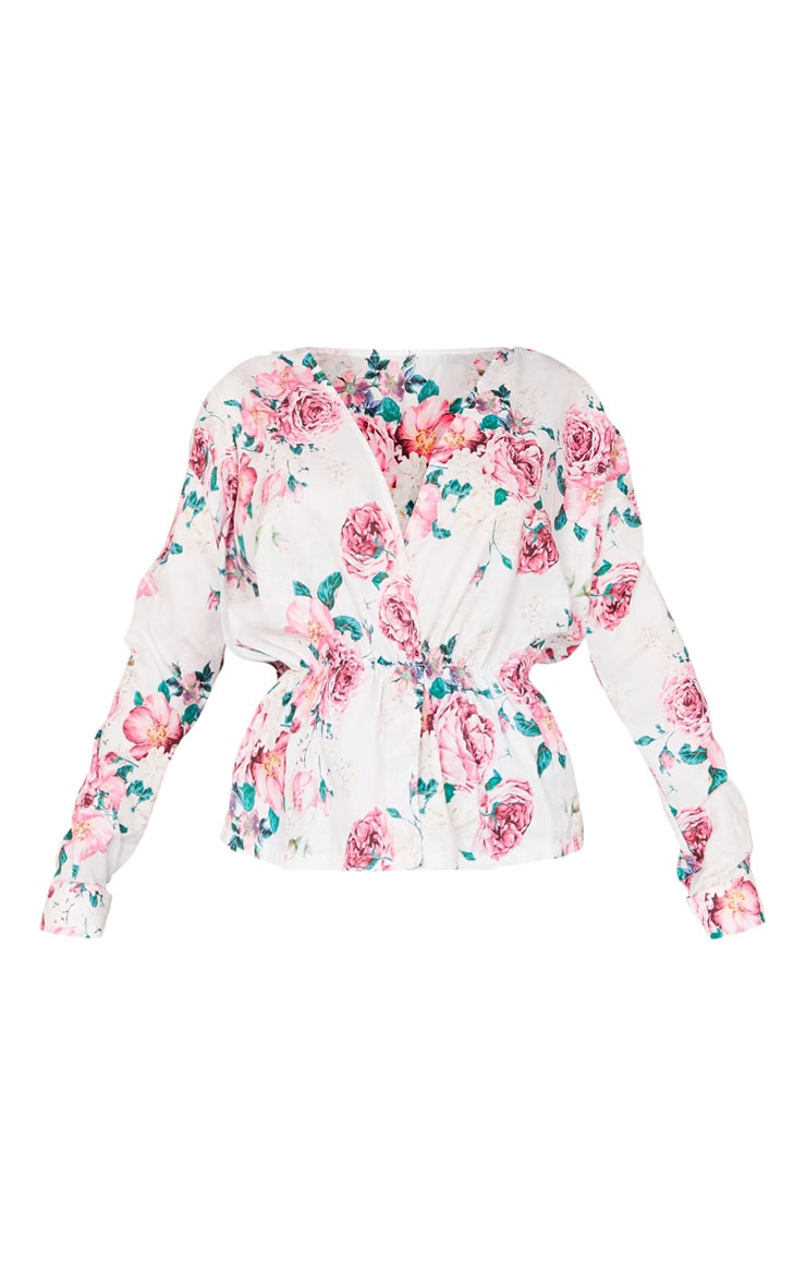 Nude Floral Woven Wrap Front Blouse 5