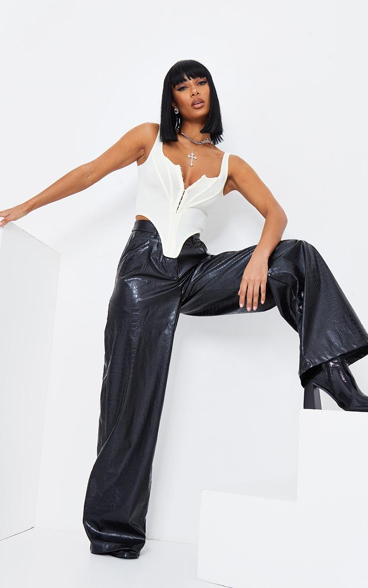 Black Croc Faux Leather Wide Leg Pant 2
