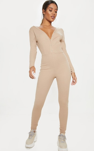 Stone Fine Rib Button Up Long Sleeve Jumpsuit