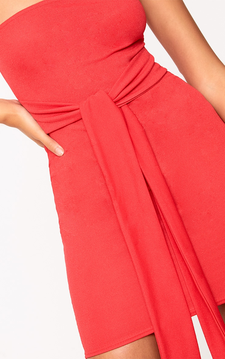 Red Bandeau Tie Front Bodycon Dress 5