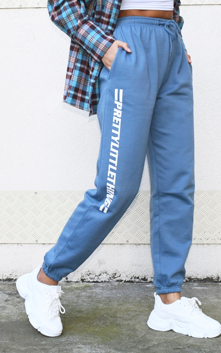 PRETTYLITTLETHING Dusty Blue Logo Stripe Joggers 2