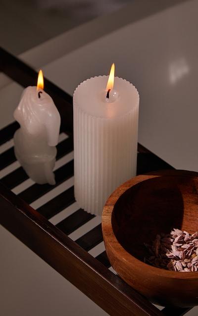 PRETTYLITTLETHING White Large Jasmine Scented Pillar Candle