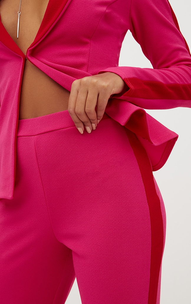 Hot Pink Contrast Stripe Straight Leg Trouser 5