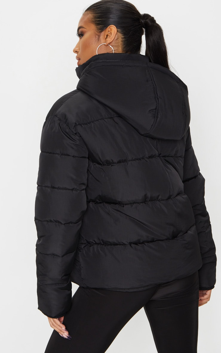 Black Hooded Puffer Jacket 2
