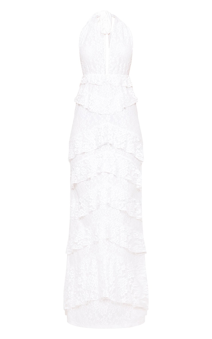 White Lace Frill Detail Maxi Dress 3