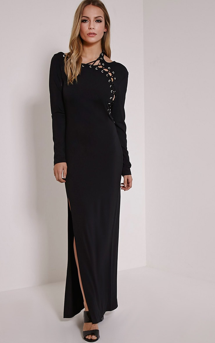 Aryanna Black Asymmetric Lace Up Maxi Dress 4
