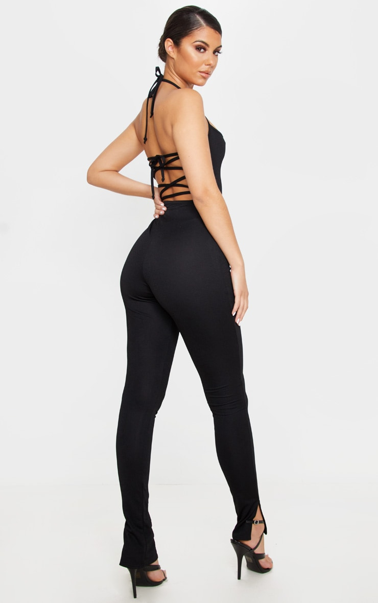 Black Strappy Back Split Hem Jumpsuit 2