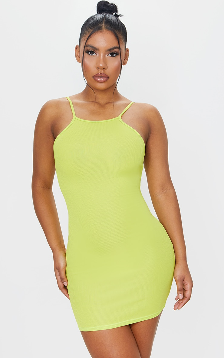 Lime Ribbed 90'S Neck Bodycon Dress 1