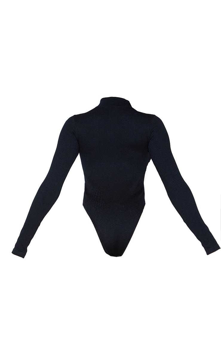 Black Contour Rib Zip Up Long Sleeve Bodysuit 6
