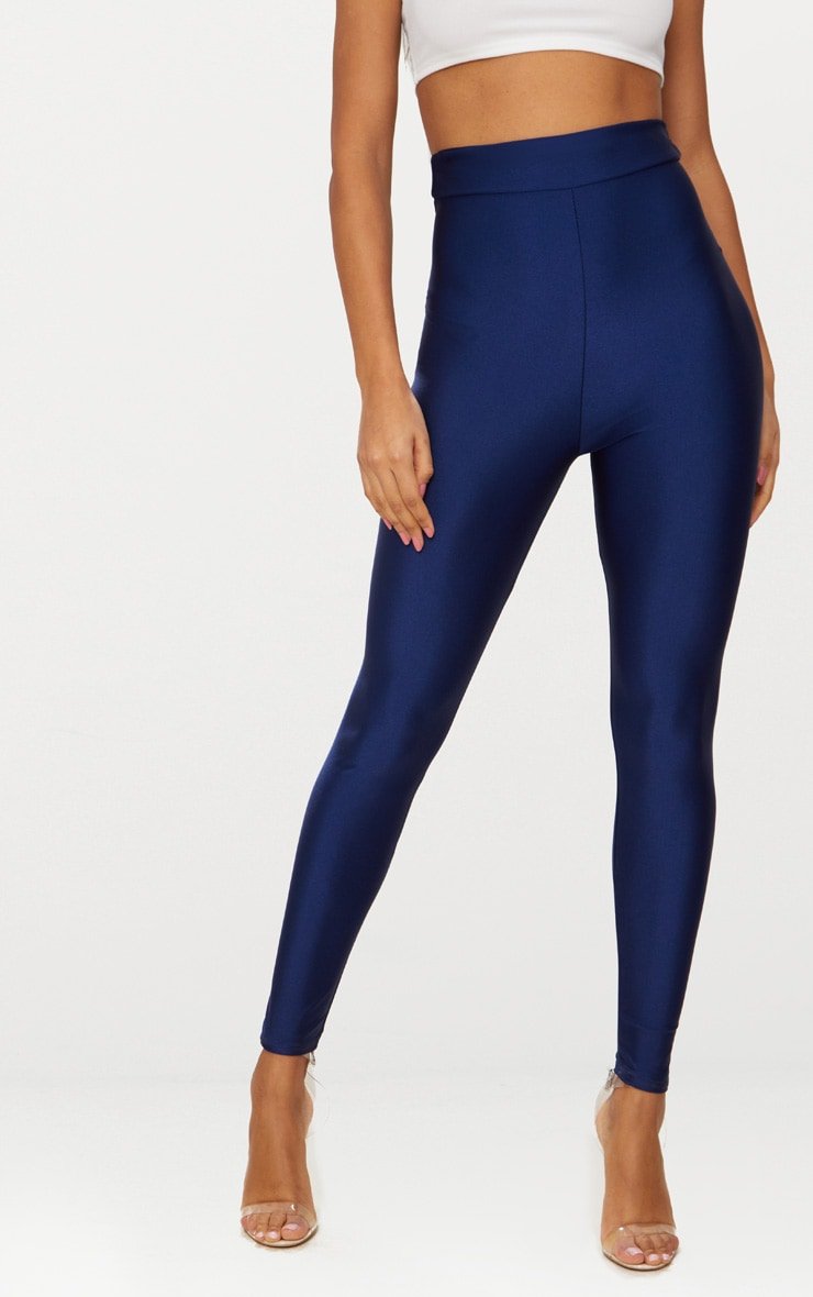 Legging disco taille haute bleu marine 2