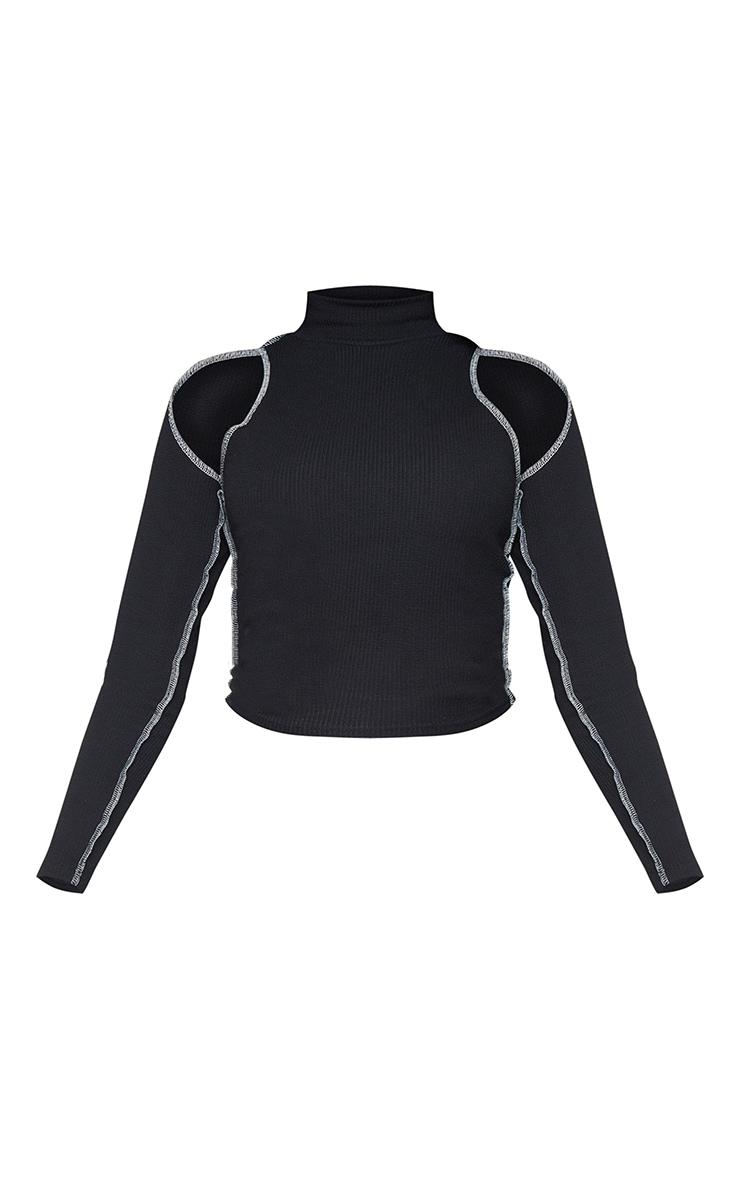 Black Brushed Rib Contrast Seam Cold Shoulder Top 5