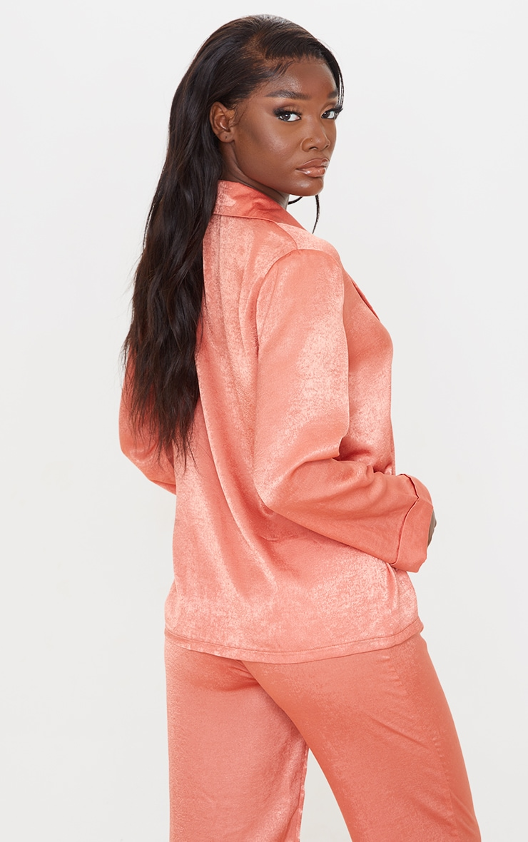 Tall Coral Hammered Satin Oversized Shirt 2