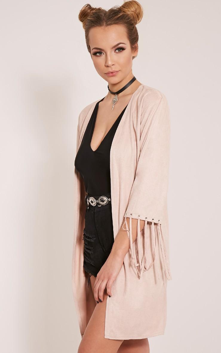 Luna Stone Faux Suede Tassel Kimono Jacket 4