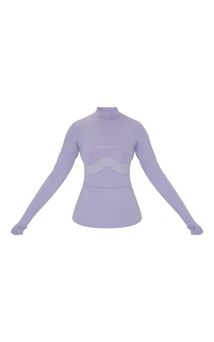 PRETTYLITTLETHING Grey Sport Line Detail Long Sleeve Gym Top 5