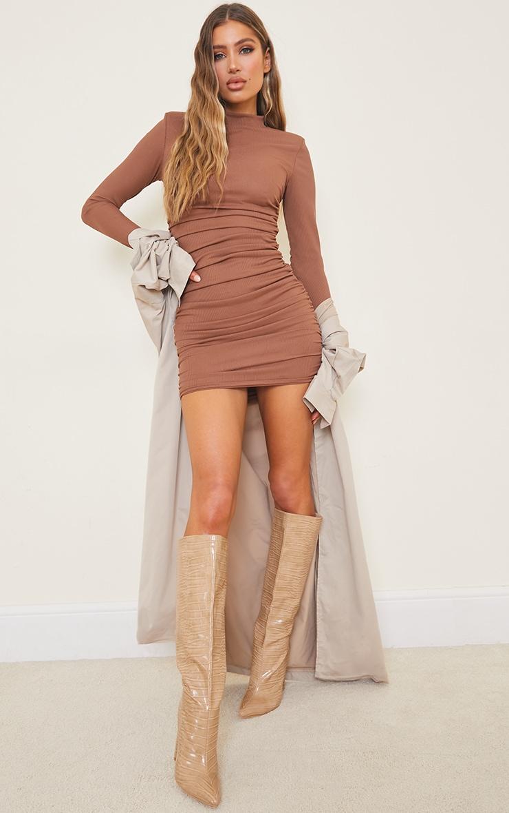 Chocolate Rib Shoulder Pad Ruched Long Sleeve Bodycon Dress 3