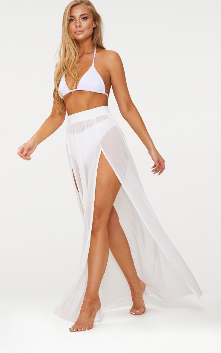 White Minah Mesh Maxi Skirt 1