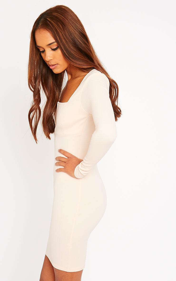 Roz Nude Plunge Mini Dress 4