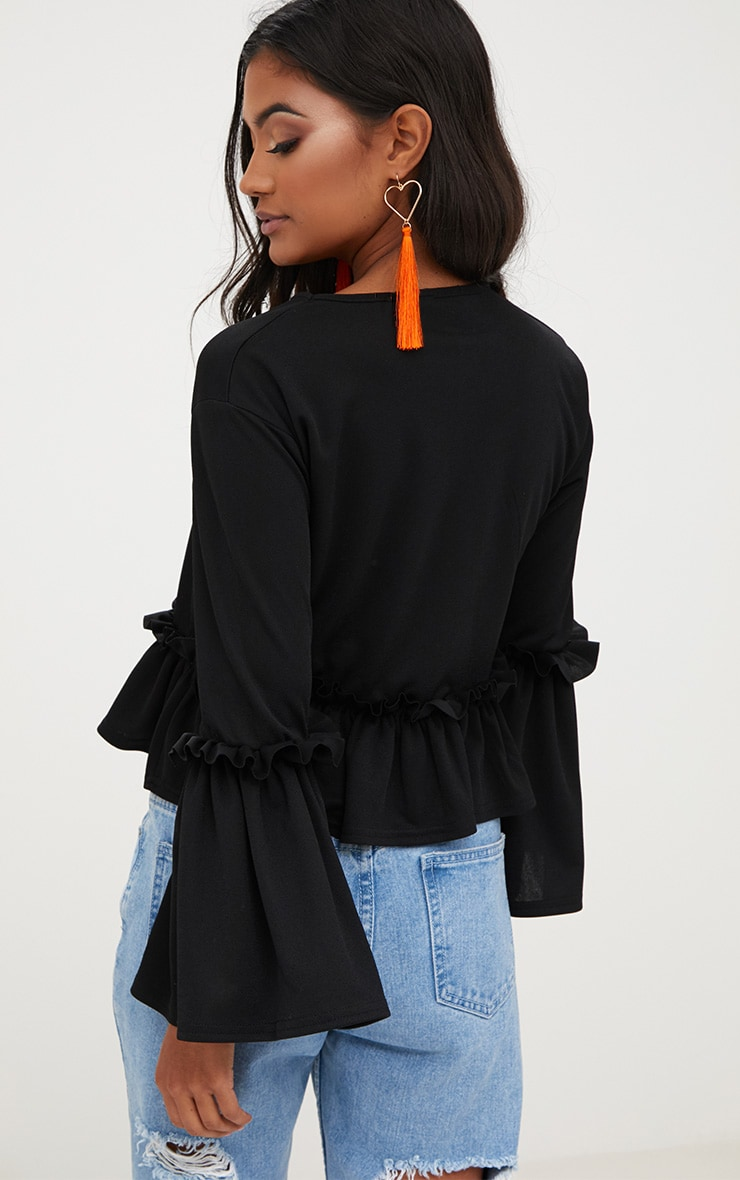 Black Frill Sleeve Top 2