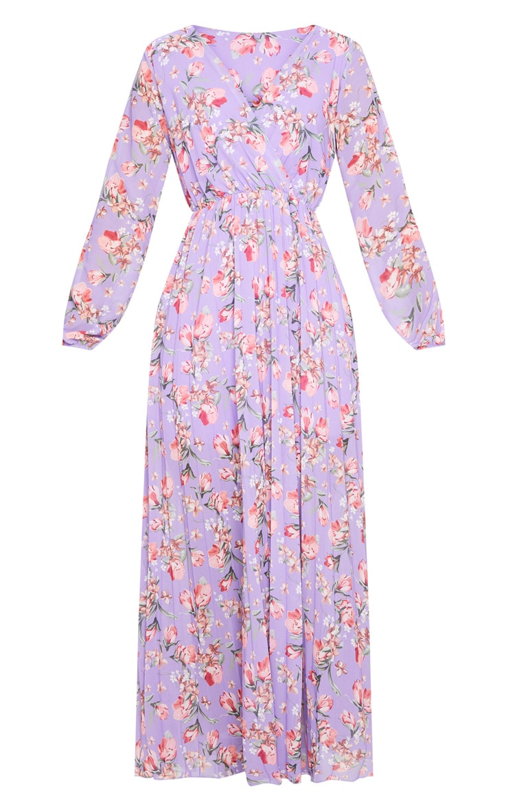 Lilac Floral Long Sleeve Pleated Maxi Dress 5
