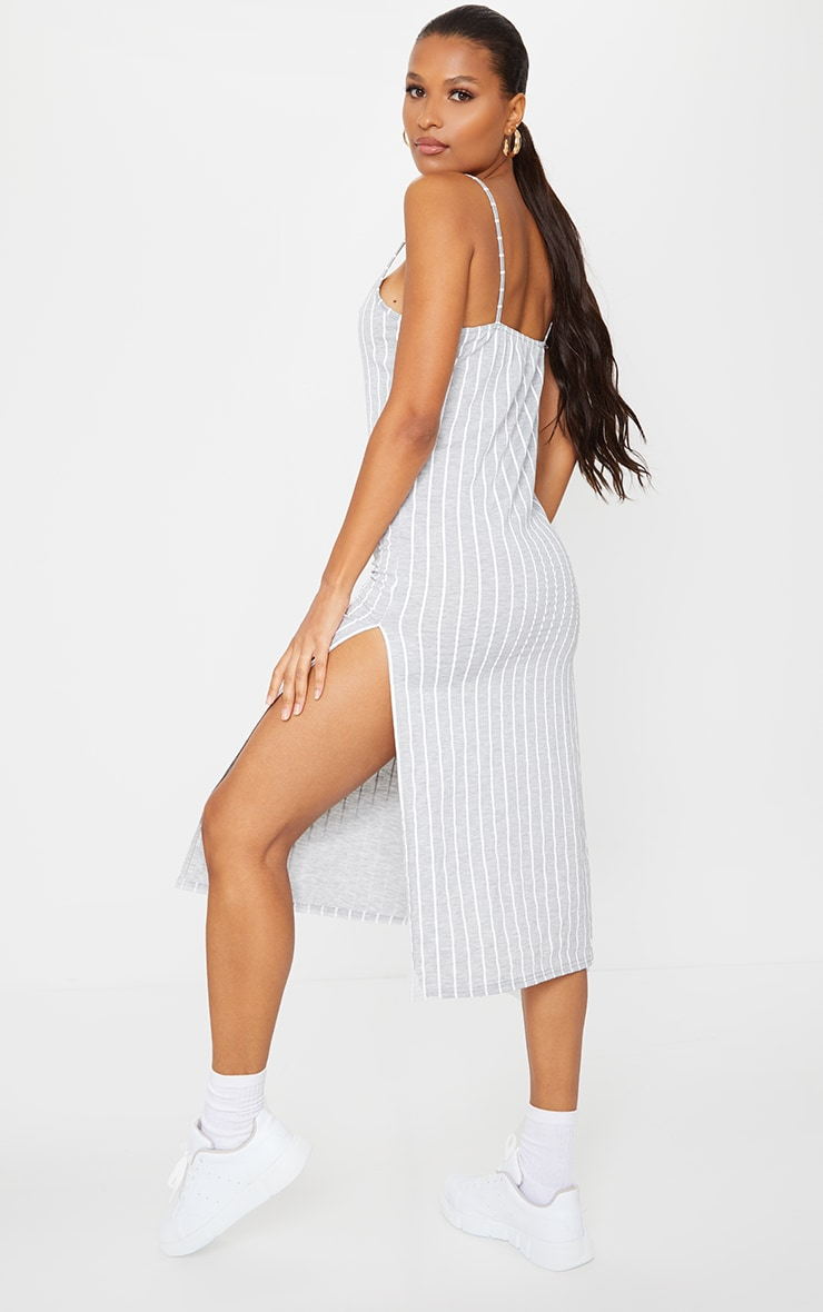 Grey Stripe Jersey Split Cami Midi Dress 1