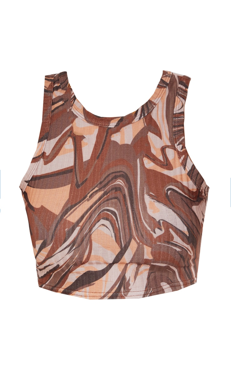 Brown Rib Abstract Swirl Print Crop Vest 5