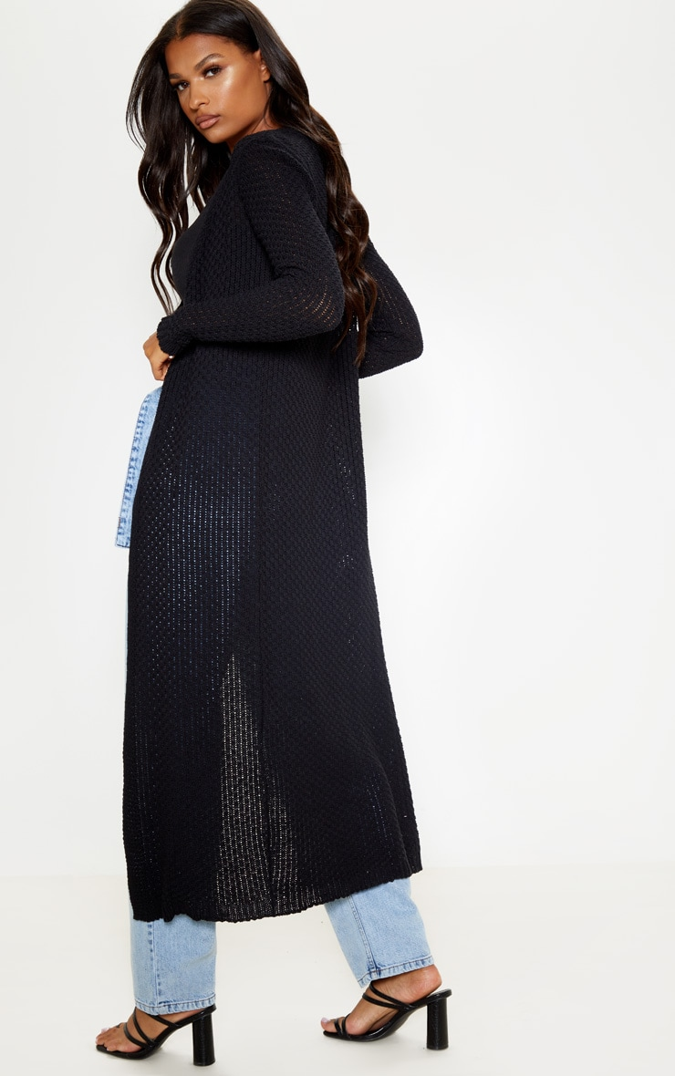 Gilet long en maille crochet noire 2