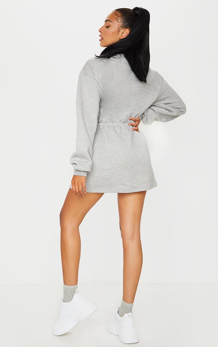 Grey Pocket Detail Elasticated Waist Sweater Dress 2