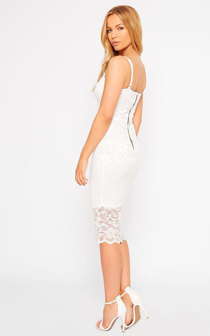 Adley White Lace Midi Dress 4