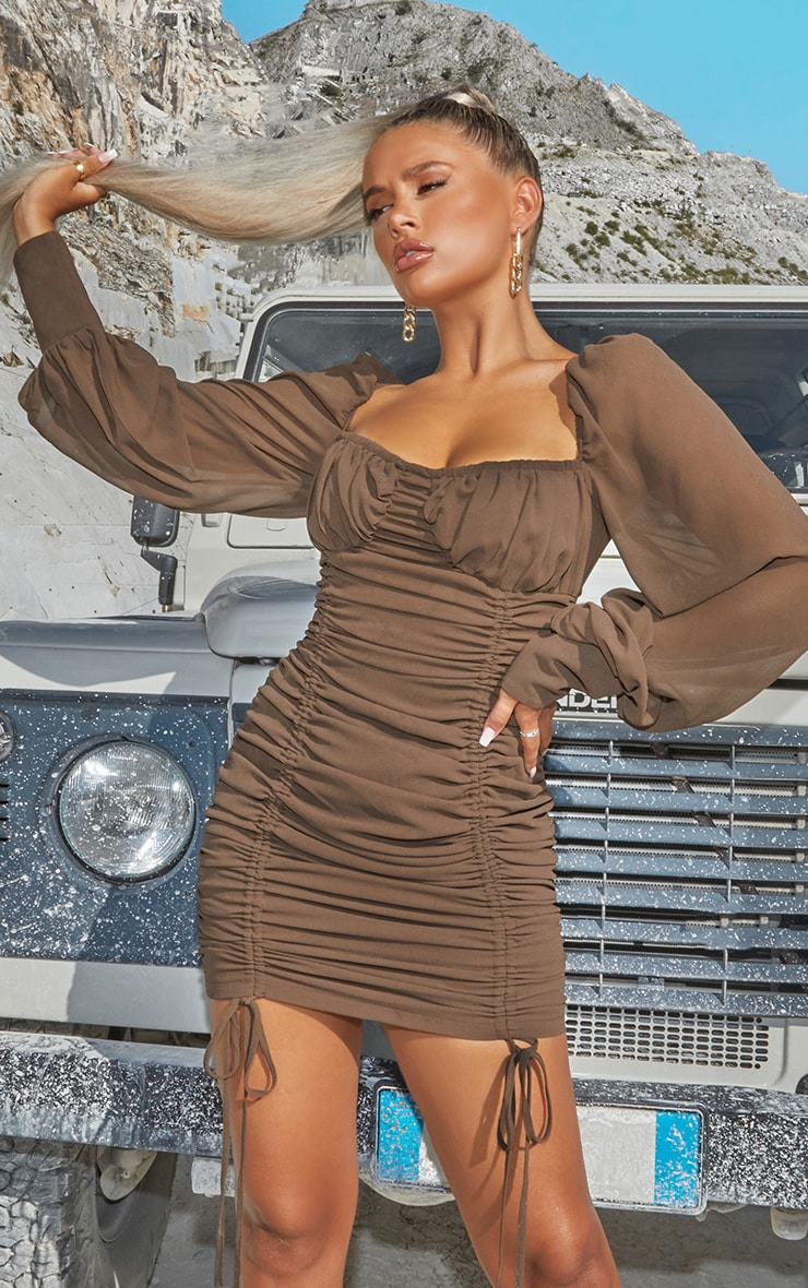 Taupe Chiffon Long Sleeve Ruched Skirt Bodycon Dress 1