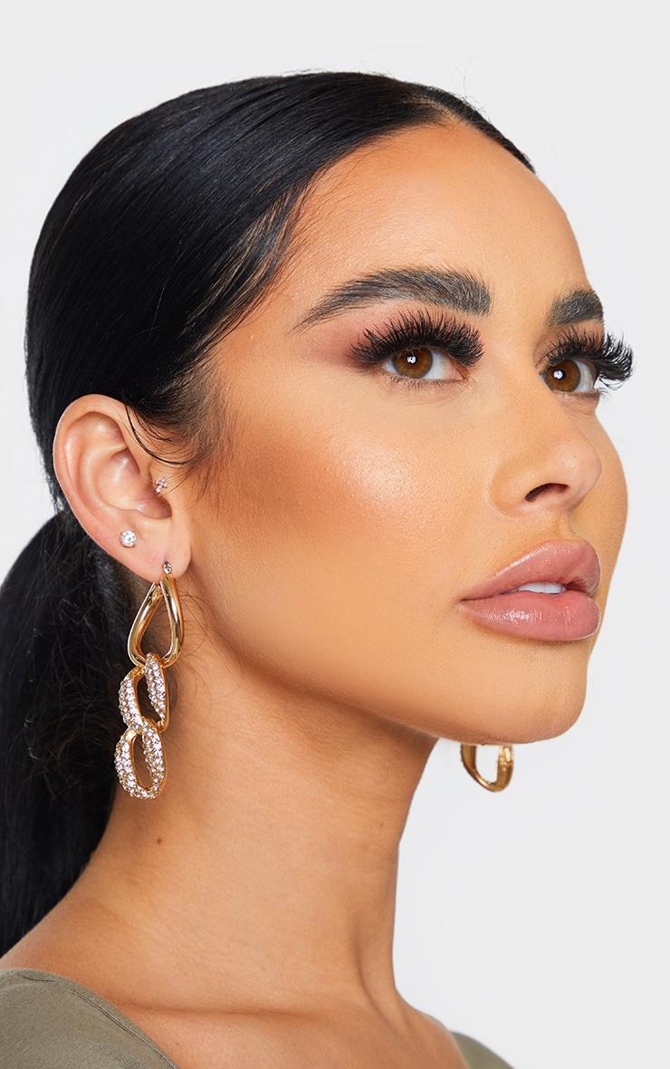 Gold Pave Chain Hoop Earrings 1