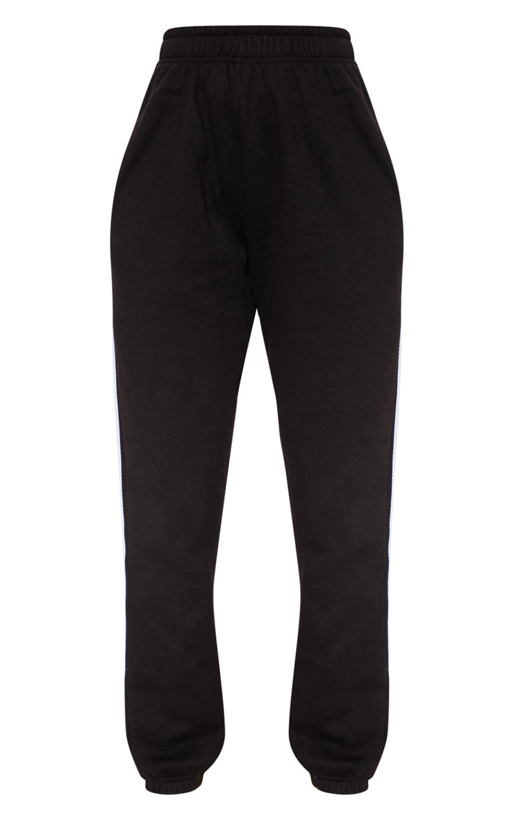 Black Reflective Side Stripe Cuffed Track Pants 3