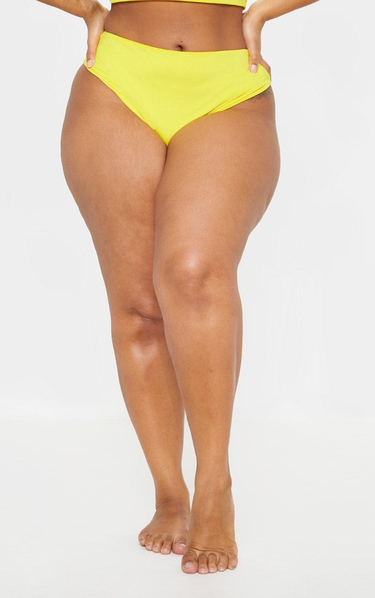 Plus Bright Yellow High Waist Bikini Bottom 2