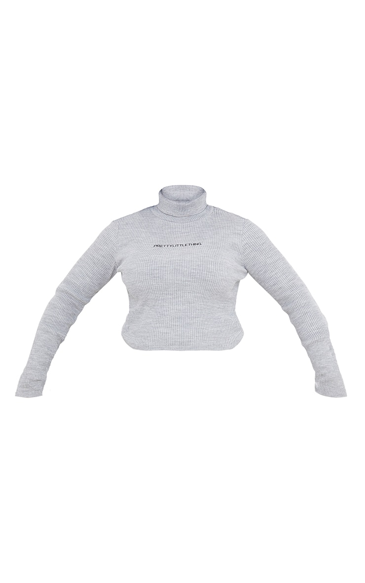 PRETTYLITTLETHING Plus Grey Roll Neck Ribbed Sweater 5