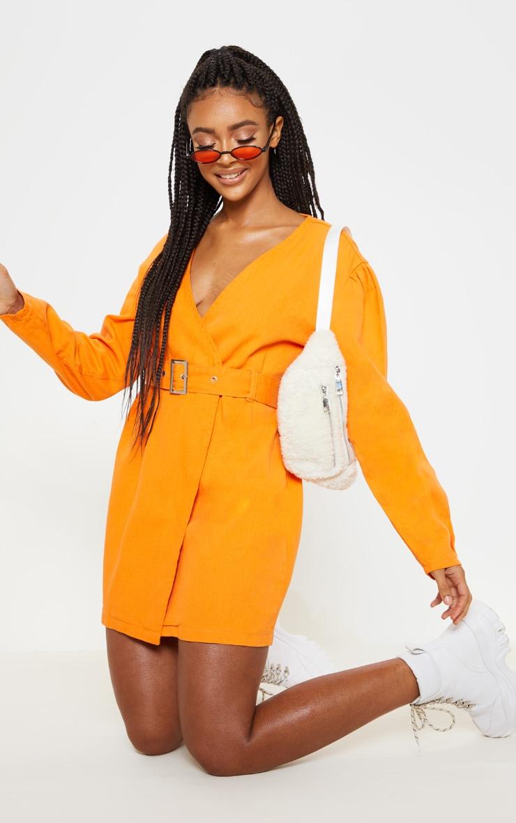 Bright Orange Belted Wrapover Denim Dress 4