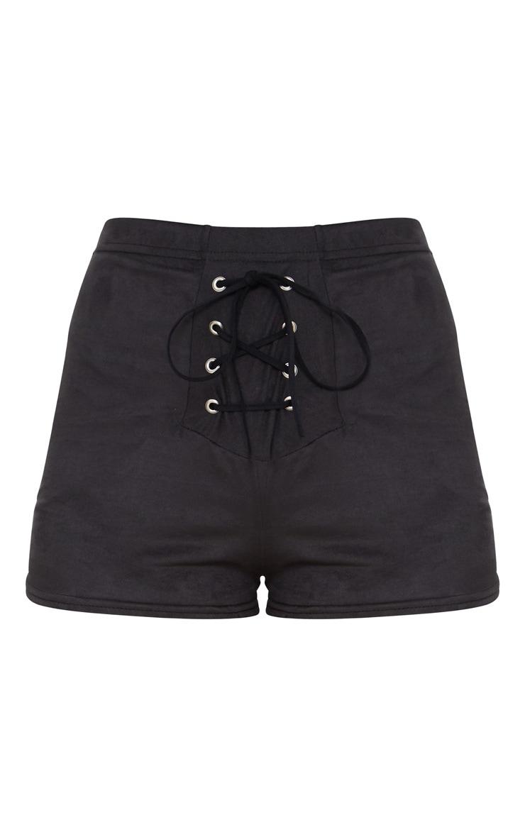 Black Faux Suede Lace Up Front Short 3