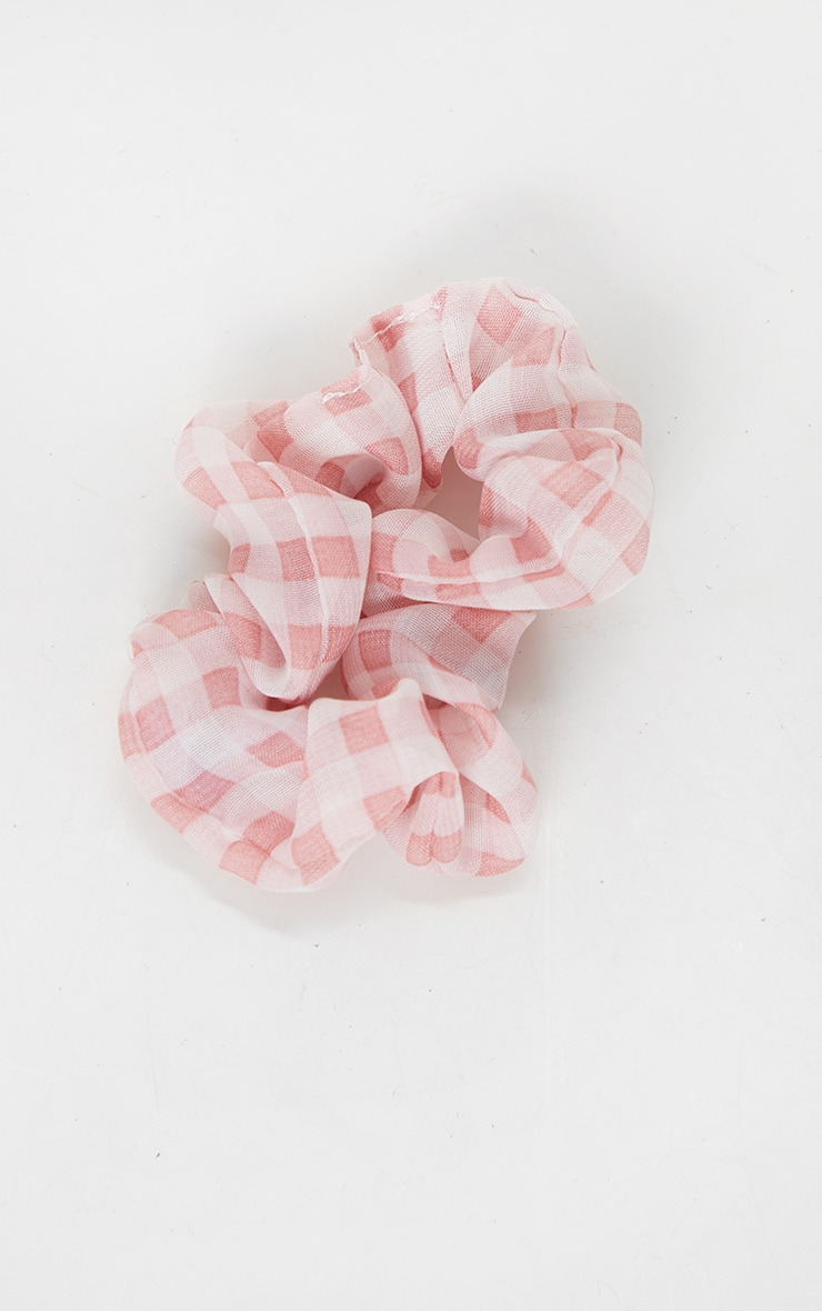 Pink Check Hair Scrunchie 2