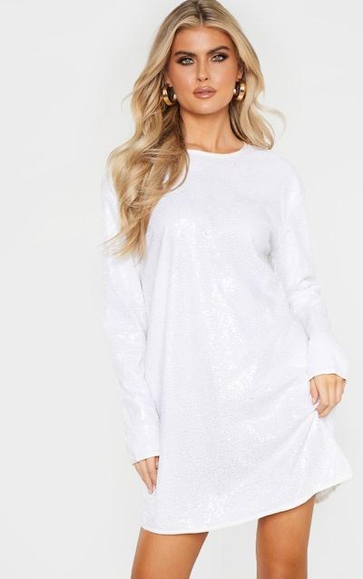 aeaf35e636d7 Tall White Sequin Long Sleeve Shift Dress PrettyLittleThing Sticker