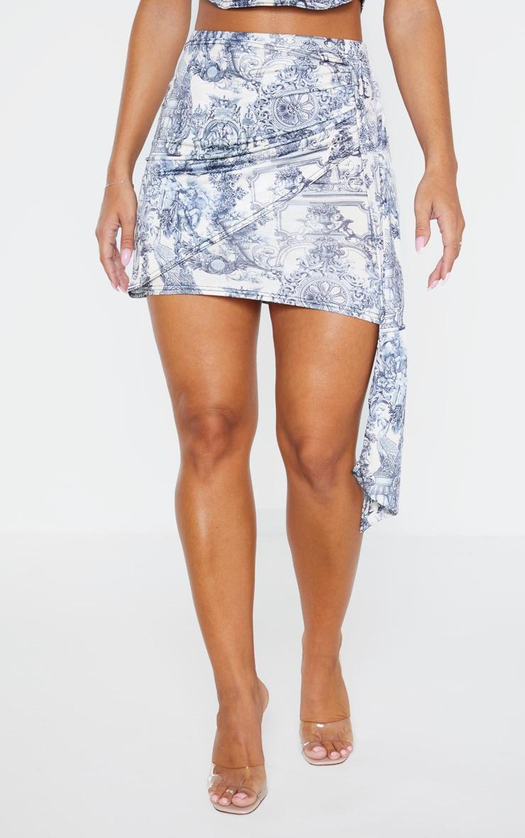 Blue Renaissance Print Drape Mini Skirt 2