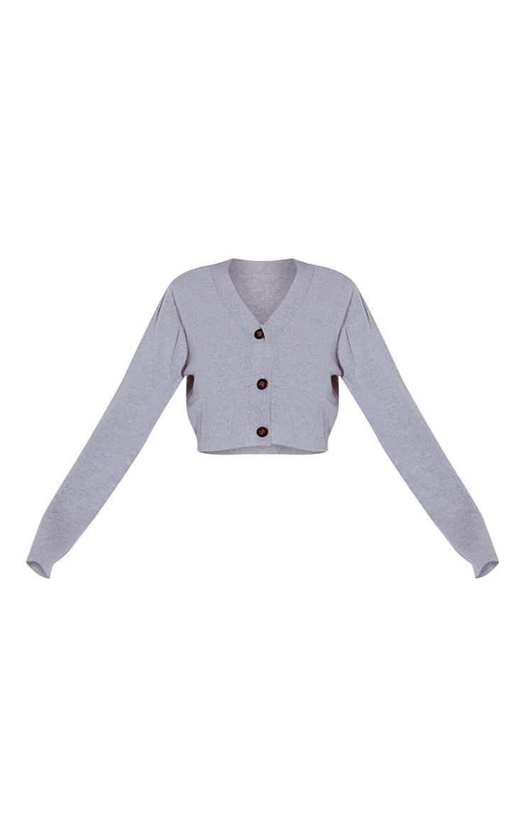 Grey Marl Soft Knit Slouchy Button Cardigan 5