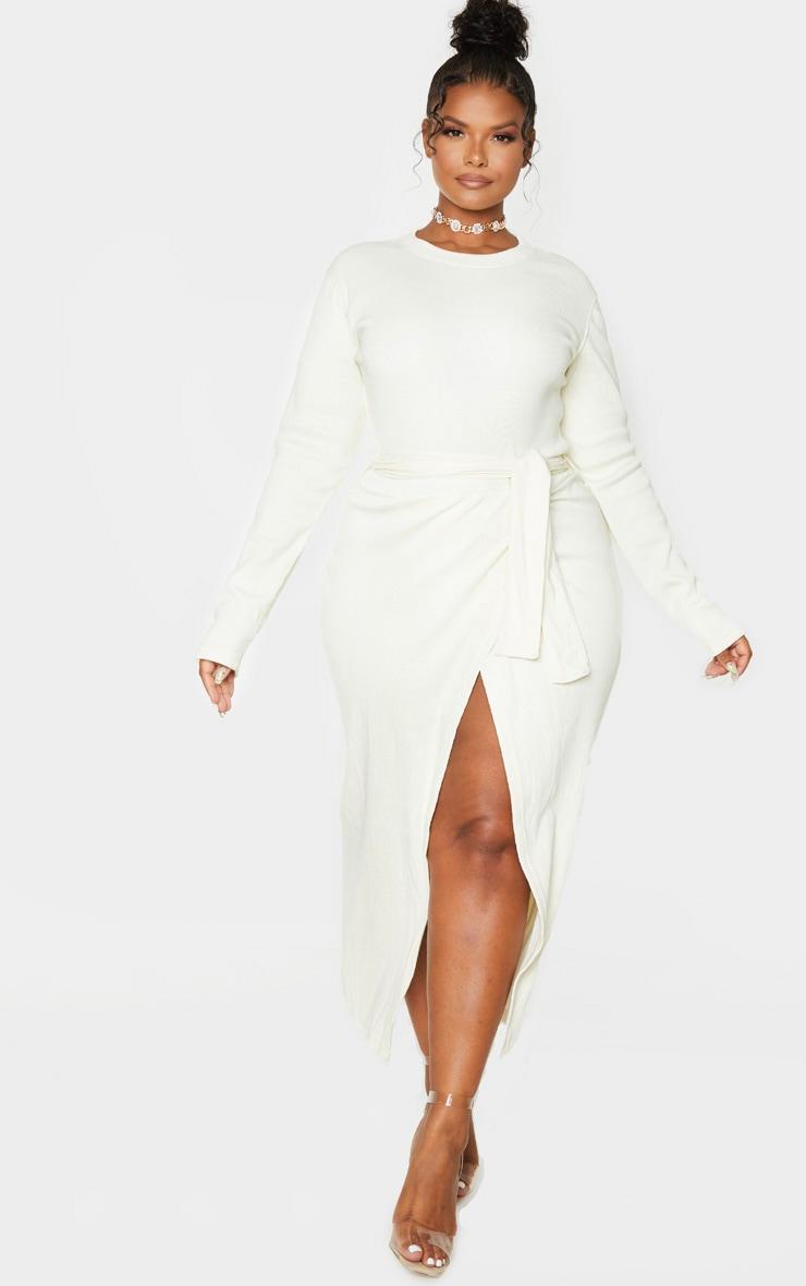 Plus Cream Thick Rib Tie Waist Wrap Midi Dress