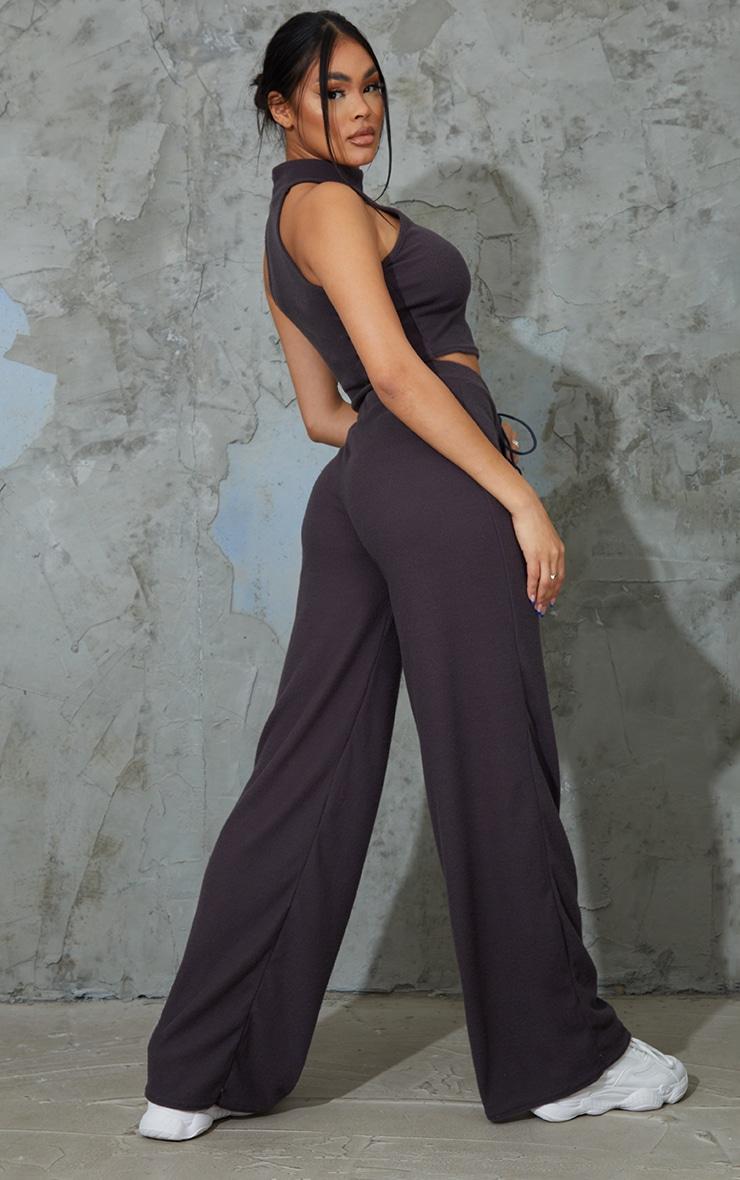 Charcoal Grey Soft Brushed Rib High Neck Sleeveless Crop Top & Wide Leg Trouser Set 2