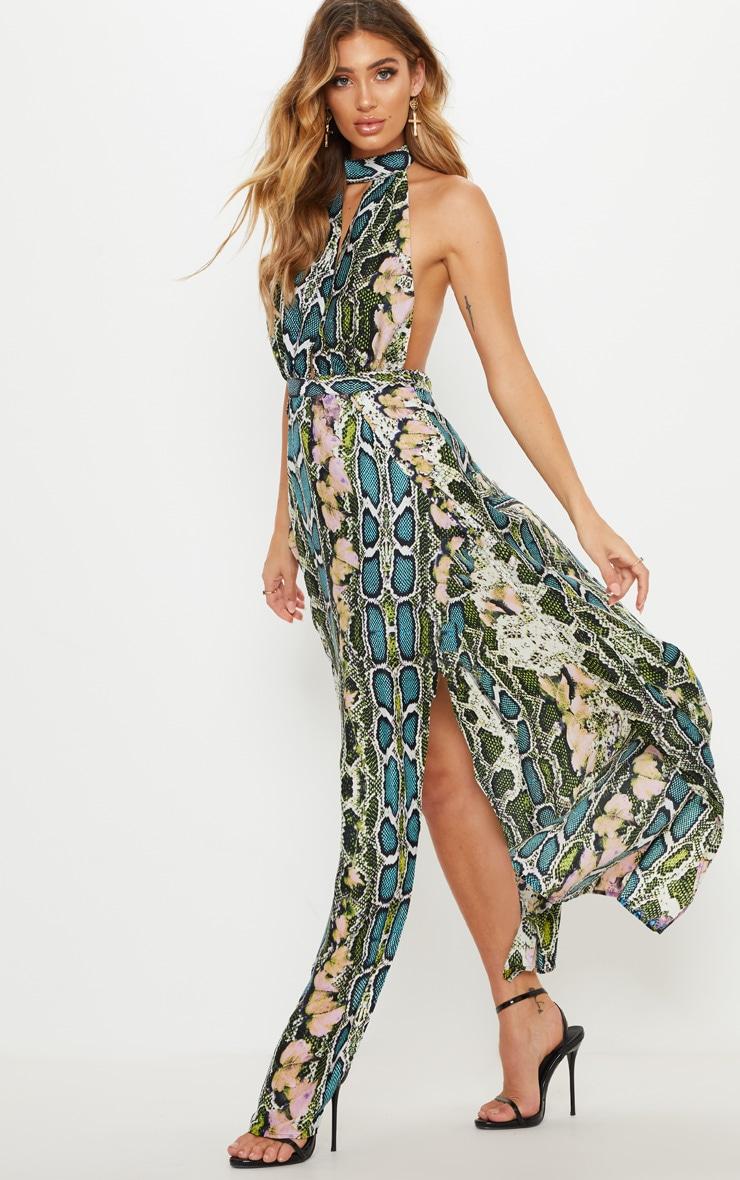 Green Snake Print Maxi Dress 4