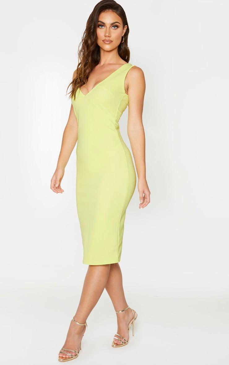 Soft Lime Bandage Rib Seam Detail Plunge Midi Dress 3