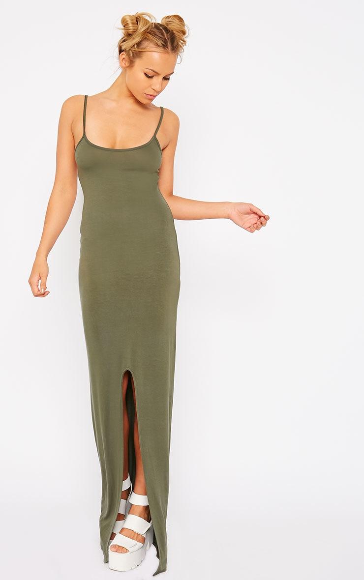 Aurelia Khaki Front Slit Cami Maxi Dress 1