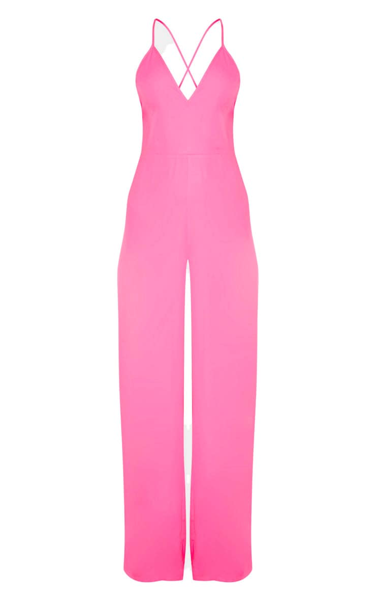 Bright Pink Plunge Side Split Leg Jumpsuit 3