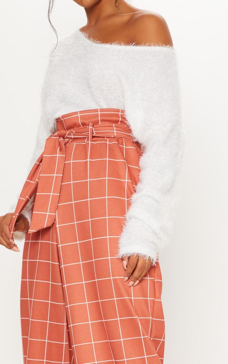 Rust Paperbag Waist Check Print Wide Leg Pants 5
