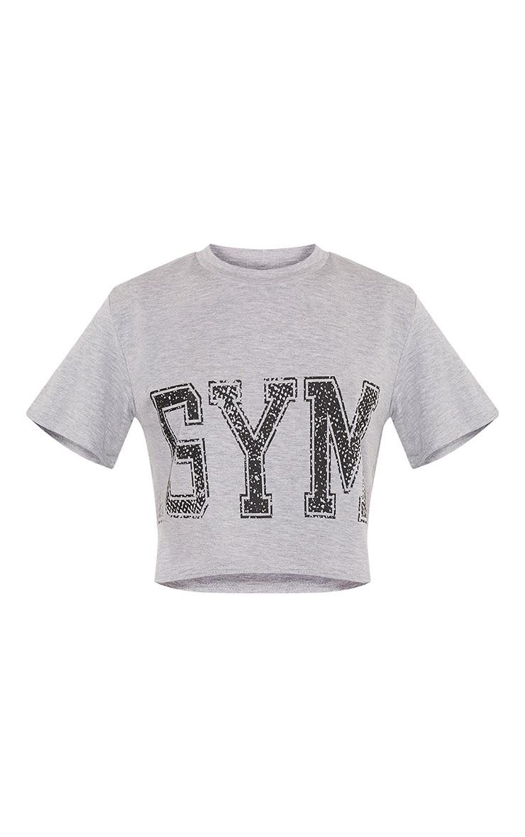 Gym Grey Slogan Crop T Shirt 3