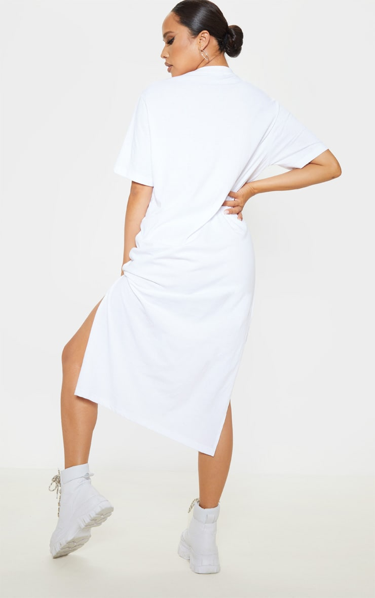 White Split Side Midi T Shirt Dress 2