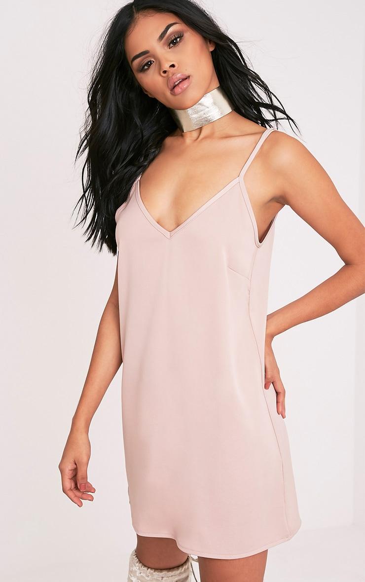 Ameera Nude Satin Slip Dress 4