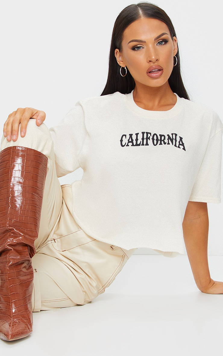 Cream California Printed Crop T Shirt 1